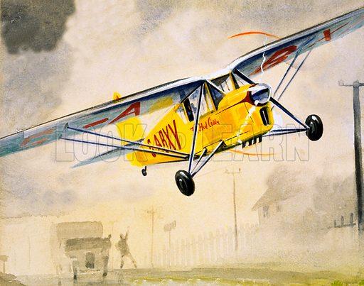 Unidentified low-flying aircraft. Original artwork.