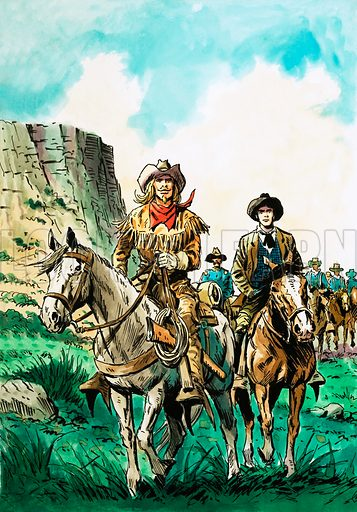 They Captured the West. William Cody leads a column of American cavalrymen with a young Englishman, Arthur Boyd Houghton, at his side. Original artwork from Look and Learn Book 1981.