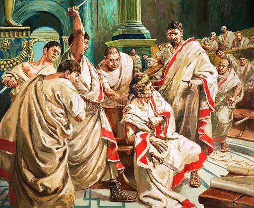 Murder of Julius Caesar in the Roman Senate, 44 BC Original artwork.