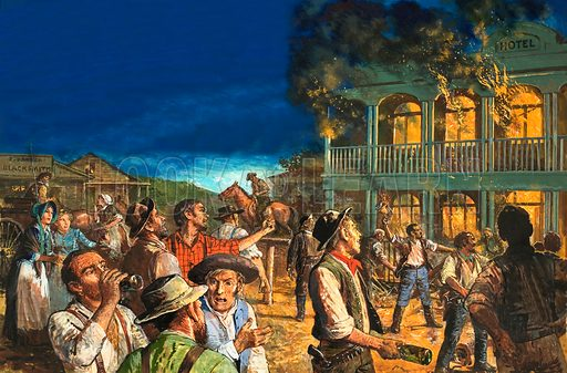 The Australian Gold Rush: The Road to Revellion. Angered by the corruption of the officials who allowed murderers to elude the law and run a hotel, the miners descended on Ballarat and set the hotel ablaze. Original artwork from Look and Learn no. 760 (7 August 1976).