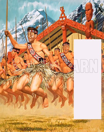 Dancing Round the World: Into Battle! The Maori Battalion were sent into battle in the Western Desert against German tanks during World War II. Original artwork from Look and Learn no. 337 (29 June 1968).