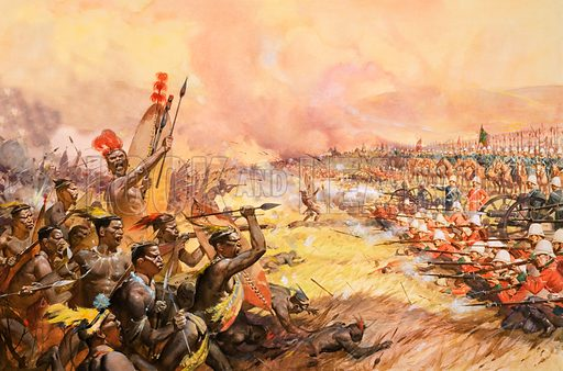 Defeat of the Zulus by the British army at the Battle of Ulundi, South Africa, 1879. Original artwork.