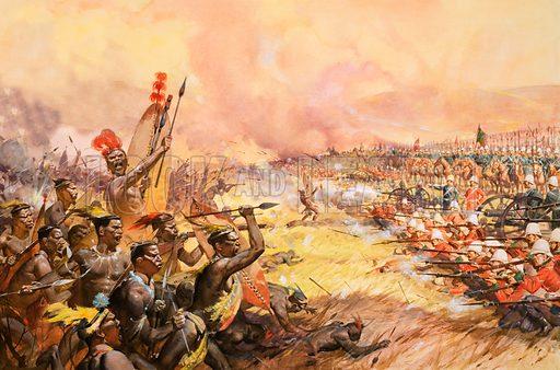 Massacre at Ulundi.  Original artwork.