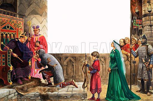 Knight swearing allegiance to King William I. Original artwork from Treasure no. 332 (24 May 1969).