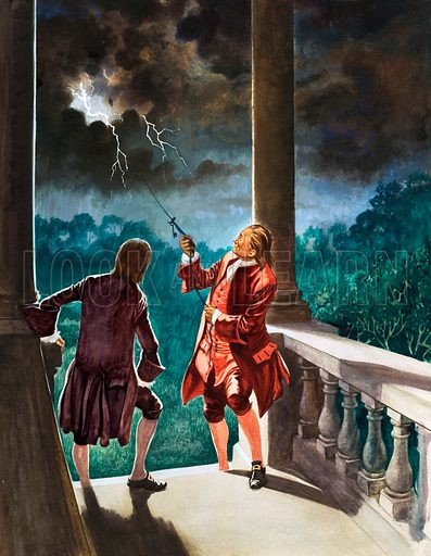 Benjamin Franklin experiment using a kite to investigate lightning, 1752. Original artwork from Treasure no. 194 (1 October 1966).