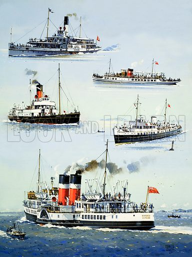 The Time Travellers: When Veteran Ships Go Paddling. Veteran steamer ships still on active service: the Schiller on Lake Lucerne; the Tern on Lake Windermere; Princess Elizabeth, a restaurant on the Thames; Balmoral, carrying passengers in the west of England; the Waverley, Britain's only surviving ocean-going paddle steamer. Original artwork from Look and Learn no. 1028 (21 November 1981).