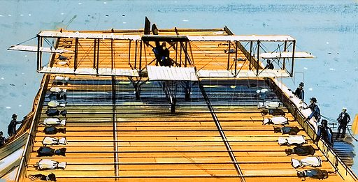 The first flight from a ship in 1910.