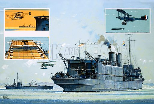 The Flying Sailors: The Seafarers Get Skyborne. Main pic: after the outbreak of the First World War several cross-Channel ferries were converted into aircraft carriers; inset (top left) the first flight from a ship in 1910; (bottom left) the first landing a few months later; (top right) a Sopwith Cuckoo, the first wheeled torpedo-carrying aircraft. Original artwork from Look and Learn no. 1021 (3 October 1981).
