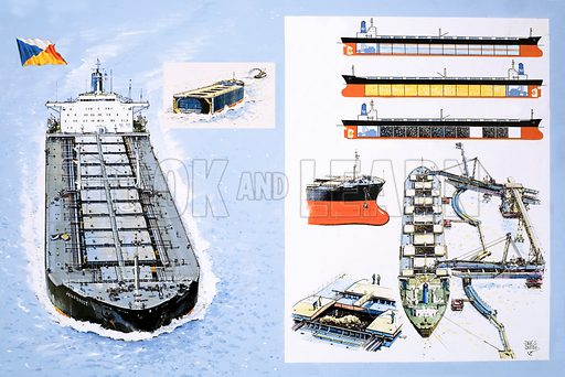 Inside Story: The Three-in-One Ship. The P&O carrier Jedforest. Original artwork from Look and Learn no. 1046 (27 March 1982).