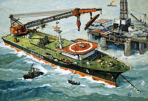 At Work on the Waves: Floating Weight-Lifter. The Galatea, fitted with a heavy lifting crane. Original artwork from Look and Learn no. 919 (1 September 1979).