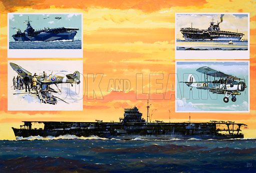 The Flying Sailors: The End of the Ark Royal. (Main pic) The Japanese carrier Hiryu; (left inset) USS Ranger and a crashed Seafire; (right inset) USS Enterprise and Fairey Swordfish. Original artwork from Look and Learn no. 1023 (17 October 1981).