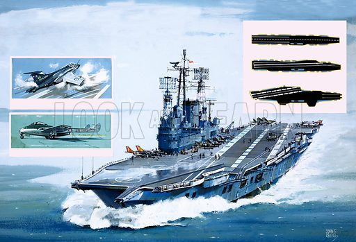 The Flying Sailors: Airborne On a Jet of Steam. (Main pic) The Ark Royal; (inset left) Buccaneer 52 fighter and Sea Vampire prototype; (inset right) how flight decks have changed. Original artwork from Look and Learn no. 1025 (31 October 1981).