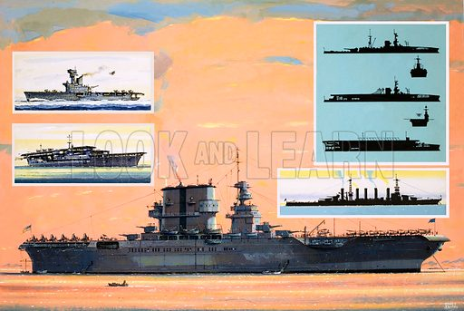 The Flying Sailors: The Floating Flat-Iron. Early aircraft carrier. (Main pic) The USS Saratoga, converted from a battle cruiser to become an aircraft carrier; inset (left) HMS Heres (top) and the Japanese Kaga (bottom); (right) silhouettes showing the conversion of HMS Furious from battle cruiser to aircraft carrier (top) and silhouette of USS Saratoga as a battle cruiser. Original artwork from Look and Learn no. 1022 (10 October 1981).