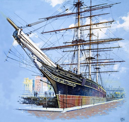 It's Maritime England 1982: The Pride of the Fleet. The tea clipper Cutty Sark, with various arrangements of mast head (bottom left). Original artwork from Look and Learn no. 1045 (20 March 1982). Detail from A012516.