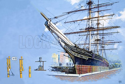 It's Maritime England 1982: The Pride of the Fleet. The tea clipper Cutty Sark, with various arrangements of mast head (bottom left). Original artwork from Look and Learn no. 1045 (20 March 1982).