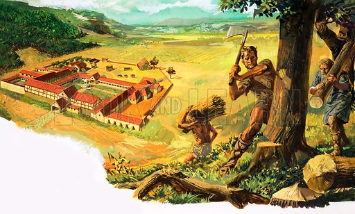 Unidentified man chopping wood which is being carried to a Roman settlement below. Original artwork.