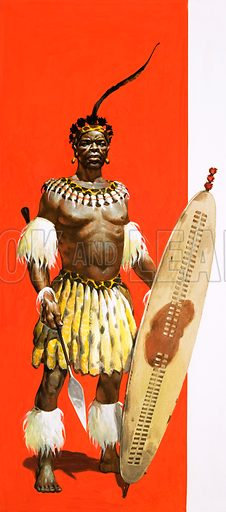 Shaka (c1787–1828), Zulu king. Original artwork.