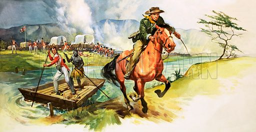 Unidentified man riding away from river with English soldiers under attack on further bank. Original artwork.