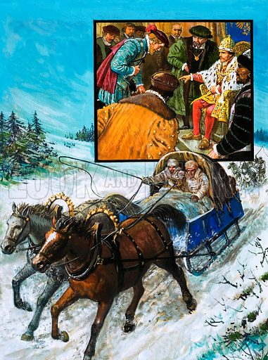 The Route to Russia: Inside the Land of the Tsar. Richard Chancellor is taken to meet Tsar Ivan (inset) by sledge after several week's wait due to poor weather. Original artwork from Look and Learn no. 957 (12 July 1980).