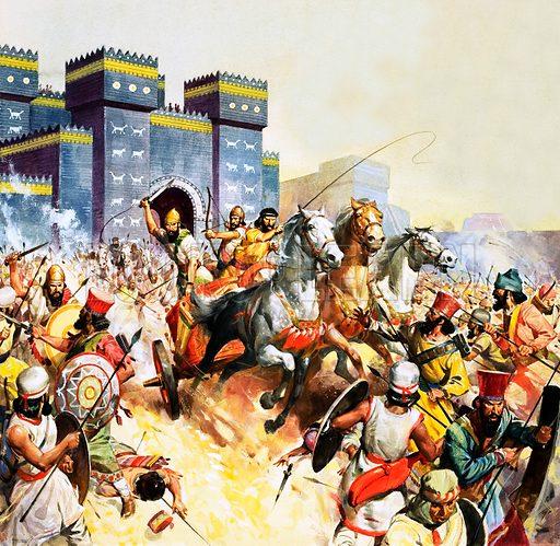 Zopyrus attacking the Persians outside the walls of Babylon. Original artwork.