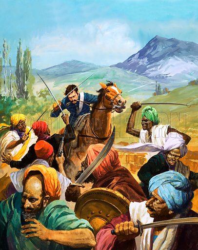 Unidentified cavalryman attacking Idians. Original artwork.