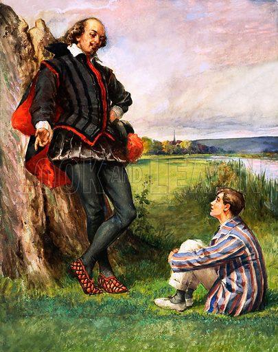 Unidentified scene of William Shakespeare talking to a modern schoolboy. Original artwork.