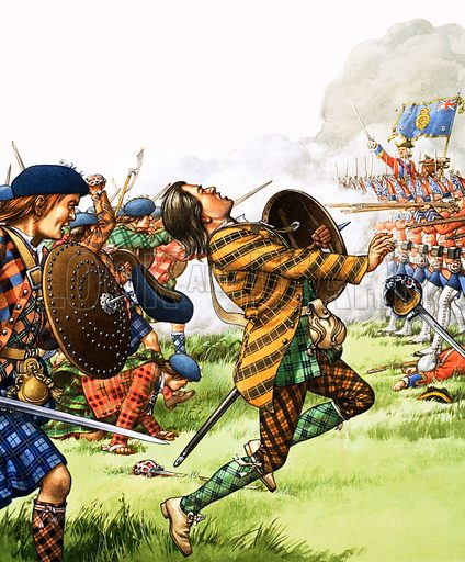 Into Battle: The End of the Road. The Battle of Culloden was the last full-scale combat fought on British soil. Original artwork from Look and Learn no. 1049 (17 April 1982).