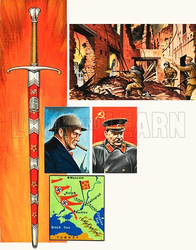 Swords That Tell A Story: A Tribute in Steel. The Stalingrad Sword, presented by Winston Churchill to Marshal Stalin as a tribute for the defense of Stalingrad during the Second World War. Original artwork from Look and Learn no. 988 (14 February 1981).
