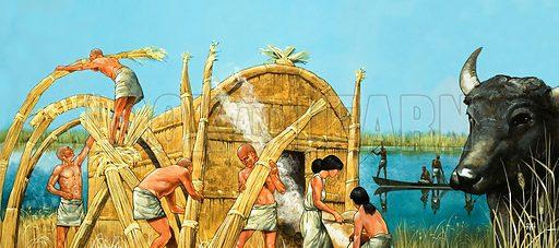 Sumerian riverside village. Original artwork.
