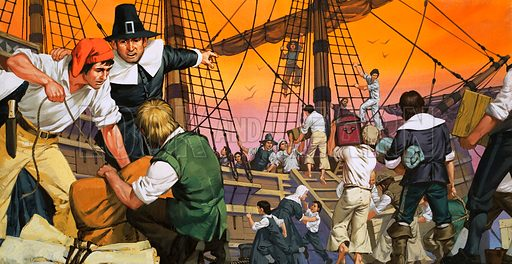 The Pilgrim Fathers prepare for their voyage across the Atlantic