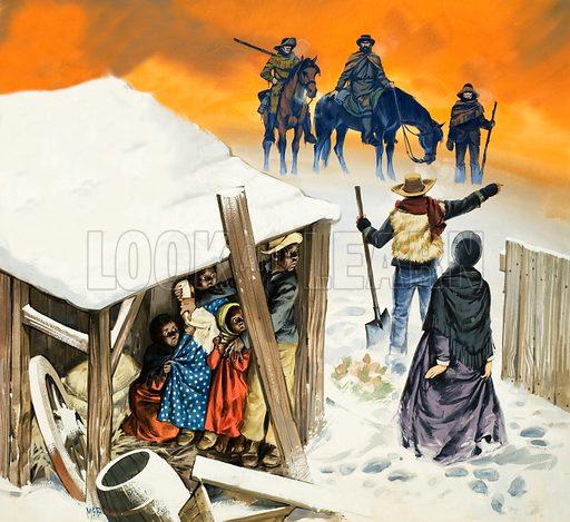 A scene based on the novel Uncle Tom's Cabin.