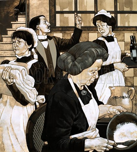 The Edwardians: 'High Society'. Below stairs, a great army of servants prepare for the arrival of guests. Original artwork from Look and Learn no. 582 (10 March 1973).