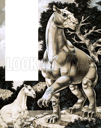 Beasts of Long Ago: Moropus. Ancient type of horse with three enormous claws. Original artwork from Look and Learn no. 441 (27 June 1970).