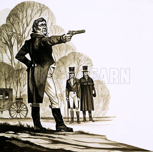 A Question of Honour. An Edwardian gentleman duelling with a pistol. Original artwork from Look and Learn no. 620 (1 December 1973).