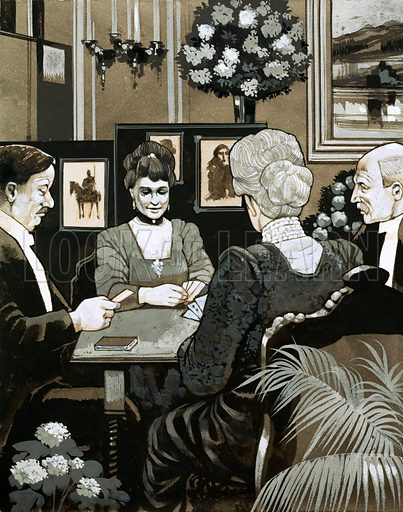 The Edwardians: 'High Society'. Much time was passed during country house parties playing bridge. Original artwork from Look and Learn no. 582 (10 March 1973).