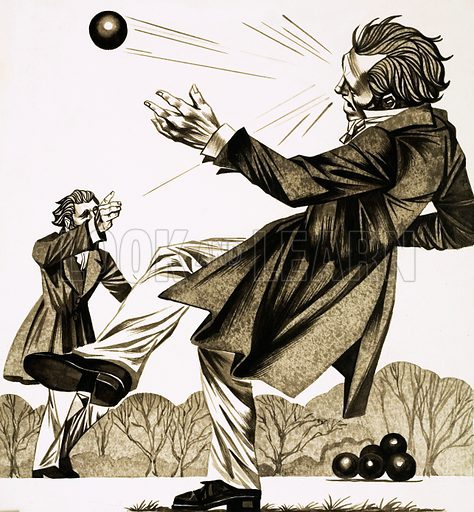 A Question of Honour. Two Frenchmen chose to duel by hurling billiard balls at each other. Original artwork from Look and Learn no. 620 (1 December 1973).