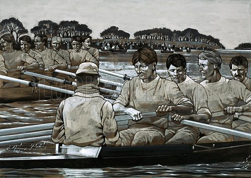 The Edwardians: The Carefree Years. The Oxford vs. Cambridge Boat Race. Original artwork from Look and Learn no. 581 (3 March 1973).