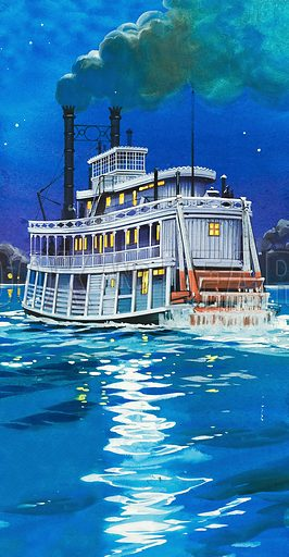The Making of America: Steamboat Country. A paddleboat on the Mississippi River. Original artwork from Look and Learn no. 410 (22 November 1969).