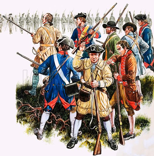 Great Events in History: THe Shot Heard Round the World. Seventy American colonists faced a thousand British regulars in 1775 at Lexington, Massachusetts. A shot was fired. To this day, no one knows who fired it, but it was to alter the whole course of history. Original artwork from Look and Learn no. 304 (11 November 1967).