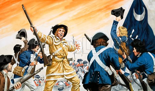 The Making of America: Virginia, the First English Settlement. Lord Cornwallis is forced to surrender at Yorktown during the War of Independence. Original artwork from Look and Learn no. 403 (4 October 1969).