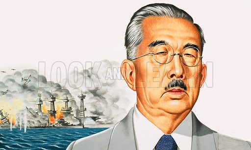 Emperor Hirohito with attack on Pearl Harbour behind.