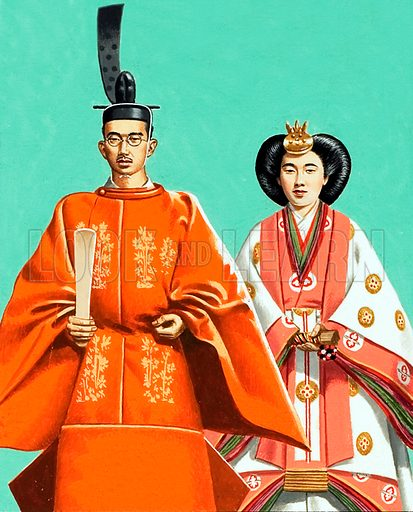 Hirohito and his wife in ceremonial robes at the coronation in 1928.