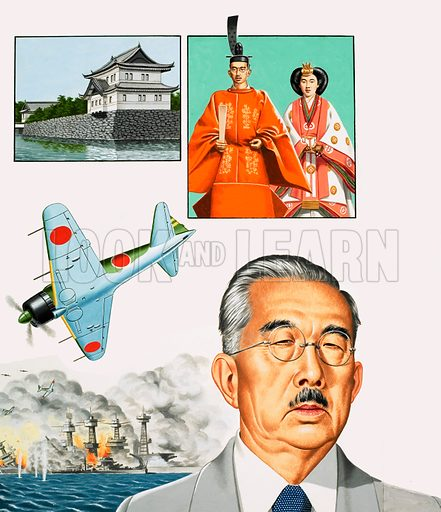 The Modern Monarchs: The God Who Was Brought Down To Earth. Emperor Hirohito (main portrait) and a montage of images relating to Japan, including (top left) the Imperial Palace in Tokyo, (top left) Hirohito and his wife in ceremonial robes at the coronation in 1928, (left) the Japanese fighter the Mitsubishi Zero and the attack on Pearl Harbour in 1941. Original artwork from Look and Learn no. 1046 (27 March 1982).