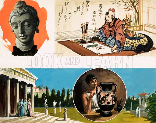 Unidentified montage about ancient artefacts, including unidentified bust, Japanese writer and a man painting an urn, the latter inset against a picture of the Parthenon. Original artwork.