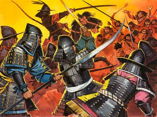 Unidentified Japanese warriors in battle. Original artwork (dated 21/4/73).