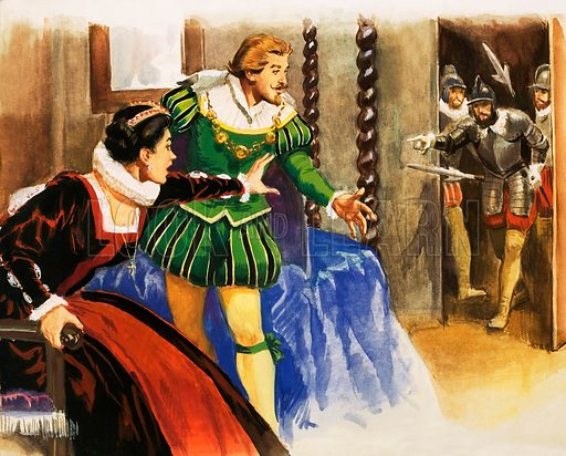 Unidentified couple, possibly Queen Elizabeth I and Sir Francis Drake, with guards entering in background. Original artwork (dated 8/6/63).