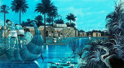 Life in the Nile valley.  Original artwork.