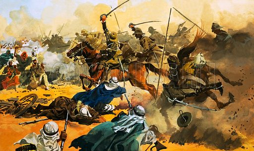 British cavalry of the 21st Lancers charging Mahdist troops at the Battle of Omdurman, Sudan, 1897. Original artwork from Look and Learn no. 103 (4 January 1964).