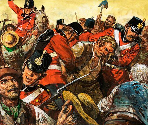 Unidentified soldiers attacking workmen. Original artwork.