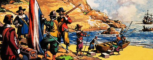 The South Africa Story. Jan van Riebeeck arrives in South Africa to found a Dutch settlement at Table Bay in 1652. Original artwork from The Fifth Look and Learn Book of 1001 Questions and Answers.